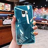 Uposao Compatible con Funda Samsung Galaxy S9 Purpurina Funda,Espejo Glitter Brillante Carcasa con 3D Geométrico Diseño TPU Slim Silicona Carcasa Funda Caso para Galaxy S9,Verde