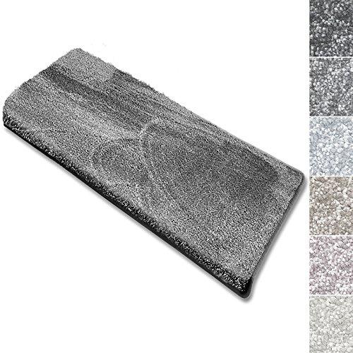 casa pura Stufenmatten Sundae | viele Varianten | Treppenteppich mit kuschlig weichem Flor | kombinierbar mit passenden Läufern | Silber - Rechteckig - 15 Stück Set