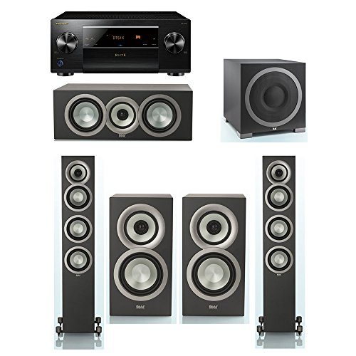 Great Deal! ELAC Uni-Fi Slim Black 5.1 System with 2 FS-U5 Floorstanding Speakers, 1 CC-U5 Center Sp...