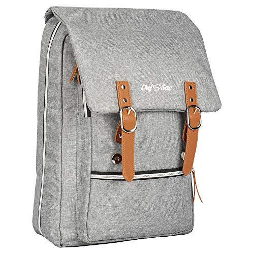 Chef Knife Bag Vintage Backpack | 30+ Pockets for Knives and Chef Tools | Knife Carrying Case with Hidden Back Pocket for Tablet | Sturdy Knife Bag for Chefs & Culinary Students (Heather Grey)