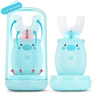U Zahnbürste Kinder,KKUYI Elektrische Zahnbürste für Baby Kinder mit Trinkglas 360 °Ultraschall Zahnbürste U-typ für Kinde...