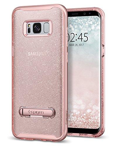 Spigen Funda Galaxy S8 Plus, Carcasa [Crystal Hybrid Glitter] Water-Mark Libre TPU y Kickstand de Metal magnético para Galaxy S8+ (2017) - Rose Quartz
