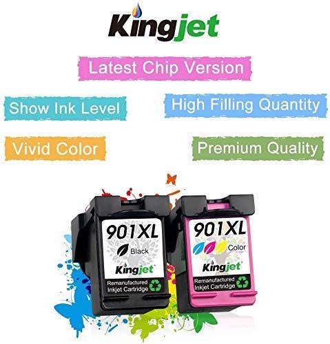 Kingjet Remanufacturado HP 901 901XL Cartucho de Tinta Compatible con HP OfficeJet 4500, HP Wireless J4500 J4524 J4535 J4540 J4545 J4550 J4580 J4600 J4585 J4624 J4660 J4680 J4680C (Negro, Tricolor)