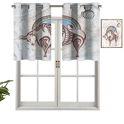 Hiiiman Panel térmico para ventana con aislamiento extra corto Taurus Icon Astrología, juego de 2, paneles opacos decorativos para el hogar de 42 x 24 pulgadas