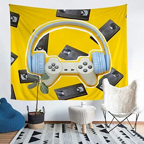 Manta de pared para niños, niños, niñas, videojuegos, para colgar en la pared, color amarillo brillante, controlador de juego moderno, manta de cama, decoración de dormitorio, tamaño grande de 69 x 91