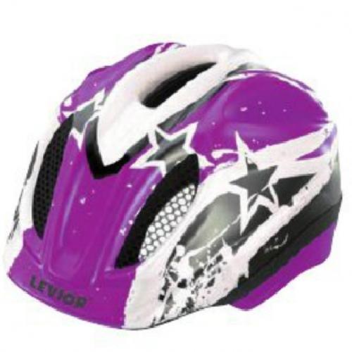 LEVIOR Primo Lizenz Stars Fahrradhelm Helm (Violet Stars / violett, 46-51 / S)
