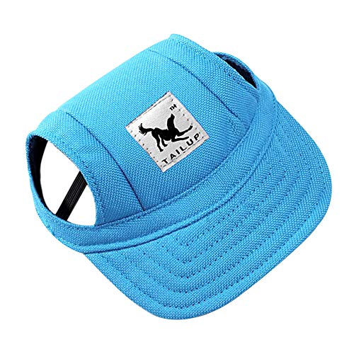 Dog Hat Pet Baseball Cap/ Dogs Sport Hat / Visor Cap with Ear Holes and Chin Strap for Small Dogs (Size S, Blue) By Happy Hours