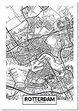 Panorama Poster Karte von Rotterdam 21 x 30 cm - Gedruckt