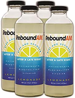 ReboundAM - Hangover Cure and Rapid Hydration with Electrolytes (Pack of 4 16oz Bottles) - Lemonade Flavor: Only 60 Calori...