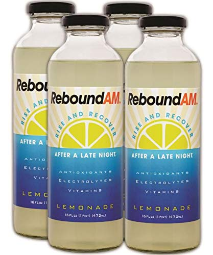 ReboundAM - Hangover Cure and Rapid Hydration with Electrolytes (Pack of 4 16oz Bottles) - Lemonade Flavor: Only 60 Calories per Bottle