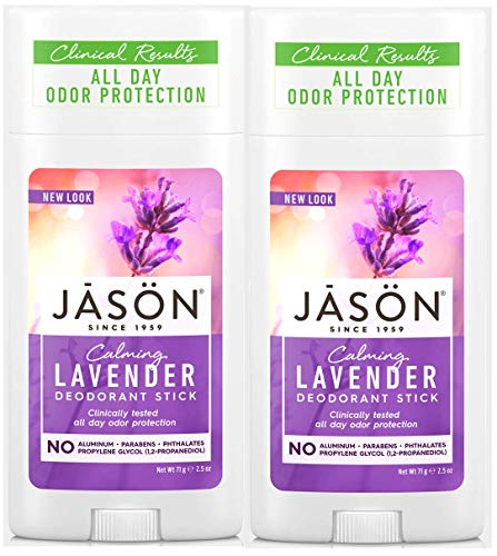 JĀSÖN Calming Lavender Deodorant Stick (Pack of 2) with Grapefruit Seed Extract, Lavender Oil and Vitamin E, No Aluminum, Phthalates or Propylene Glycol, 2.5 oz.