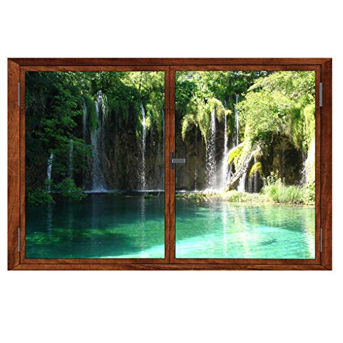 BooDecal 22.9 in x 15 in 3D Summer Trees Waterfall Lake Scenery Fake Wooden Window Decorative Decals Interior Room Wall Stickers for Bedroom Living Room Playroom Decals