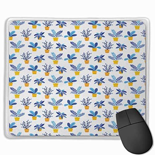 Niedliches Gaming-Mauspad, Schreibtisch-Mauspad, kleine Mauspads für Laptop-Computer, Botanische Pflanzen mit Mausmatte in Töpfen mit Zickzack-Tupfen oder Streifenmustard Azure Blue