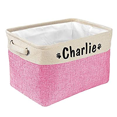 PET ARTIST Collapsible Dog Toy Storage Basket Bin with Personalized Pet's Name - Rectangular Storage Box Chest Organizer for Dog Toys,Dog Coats,Dog Clothing,Dog Apparel & Accessories,Pink