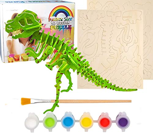 Afufu Juguetes Niños Rompecabezas para Colorear En 3D, Kit De Manualidades de Pintura Puzzle Madera Juegos de Montaje Maqueta de Dinosaurio, Educativa Regalo de Cumpleaños para Niñas 5 6 7 8 9+ años