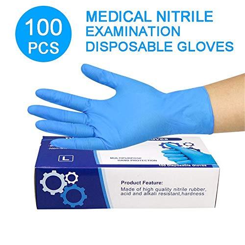 MILECN Paquete de 100 Guantes Desechables de Vinilo, Azul sin Polvo, Guantes Extra sensibles al Polvo sin nitrilo,M