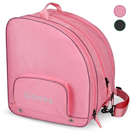 Gonex Upgraded Skate Bag for Inline Skates Roller Skates Quad Skates Ice Skates Ski Boots Helmet and Protective Gears with Multiple Pockets for Women Men Girls Boys, Pink