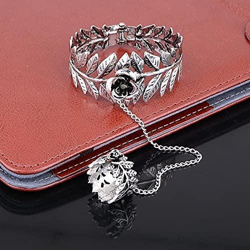XKMY Pulsera de plata anillo de hoja hueca dedo anillo pulsera cadena para hombres mujeres joyería
