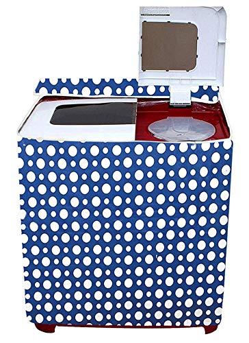 Amazon Brand - Solimo PVC Top Load Semi Automatic Washing Machine Cover, Polka, Blue
