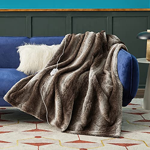 """Bedsure Faux Fur Heated Blanket - 50""""×60"""" Throw Size Low Voltage Electric Blanket, 4 Heating Levels & Auto Shut Off with 2/4/8/10 Hour, Embossed Plush Throw Blanket for Couch (Brown, 50""""×60"""")"""