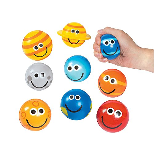 Fun Express Solar System Stress Balls - 9 Pieces - Educational and Learning Activities for Kids