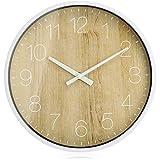com-four® Reloj de Pared analógico con Esfera de Reloj Grande en diseño de Madera - Hermoso Reloj para Cocina, salón, Dormitorio y Oficina - Ø 25,5 cm (1 Pieza - marrón Madera)