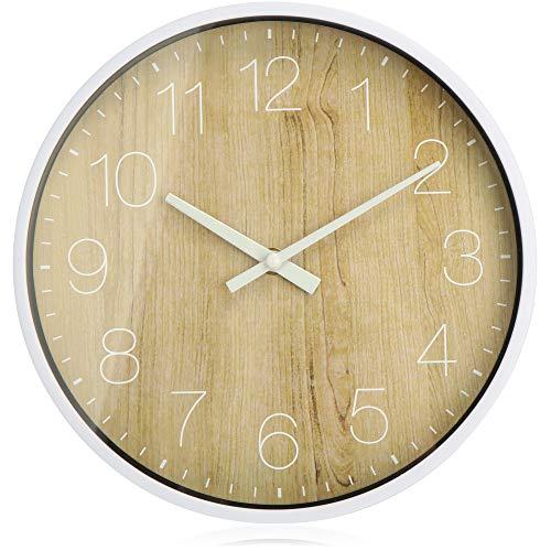 com-four® Analoge Wanduhr mit großem Ziffernblatt im Holz-Design - schöne Uhr für Küche, Wohnzimmer, Schlafzimmer und Büro - Ø 25,5 cm (1 Stück - Holzbraun)