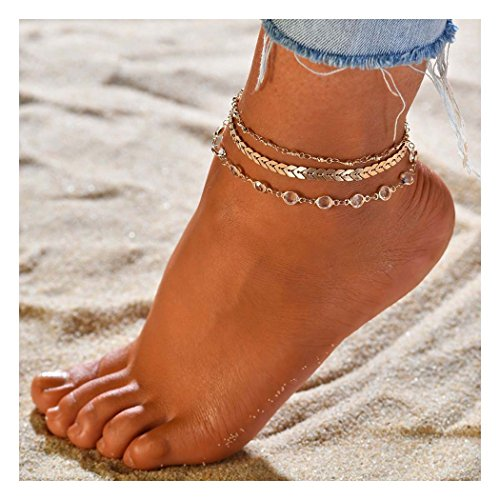Zoestar Three-Layer Anklet Ankle Bracelet Foot Chain with Leaves Accessories Foot Jewelry for Women and Girls (Color 1)