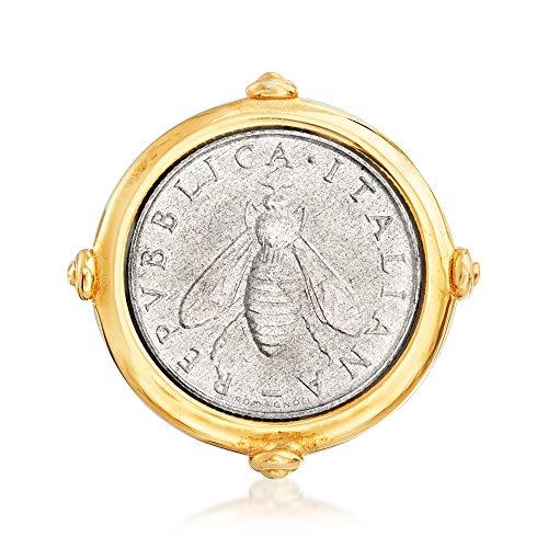 Ross-Simons Italian 18kt Gold Over Sterling 2-Lira Bee Coin Ring
