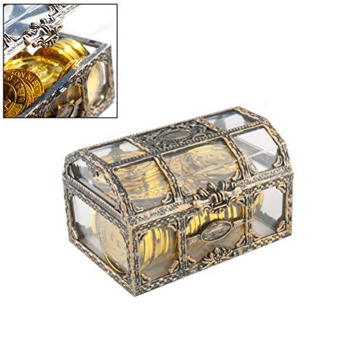 WINBST Portagioie in stile retrò vintage, con cristalli e pietre preziose, trasparente