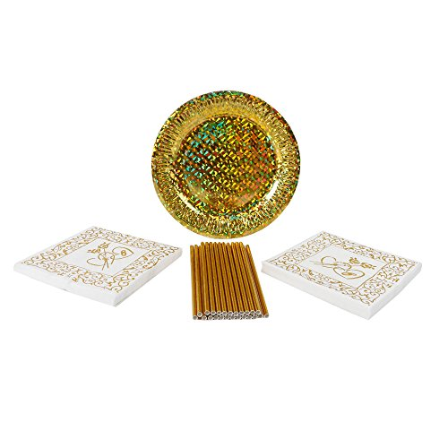 Geeklife Disposable Paper Plates Set,Includes Gold Paper Plates,Gold Napkins and Gold Straws for 20 Guests