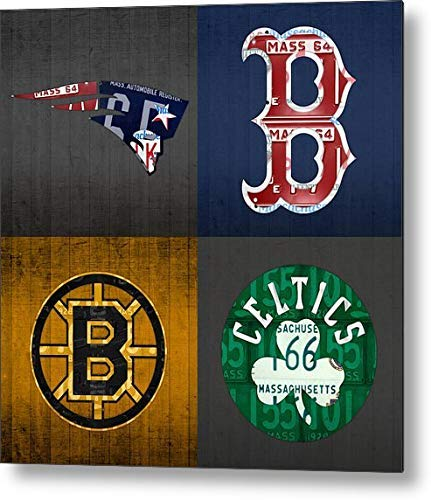 Anjoes Boston Sports Fan Vintage Massachusetts License Plate Art Patriots Red Sox Bruins Celtics Retro Vintage Metal Tin Sign Wall Plaque - for Cafe Beer Club Wall Home Decor 12x12 Inches