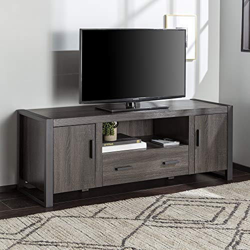"""Walker Edison Industrial Modern Wood Universal Stand with Cabinet Doors and Open Shelves for TV's up to 64"""" Flat Screen Living Room Storage Entertainment Center, 60 Inch, Charcoal"""