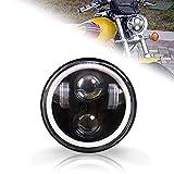 5.75 LED Headlight, HOYUZA 5-3/4 Motorcycle Headlight with White Halo DRL Compatible with Harley Sporster Iron 883 Dyna Street Bob Super Softail Low Rider Deuce Custom