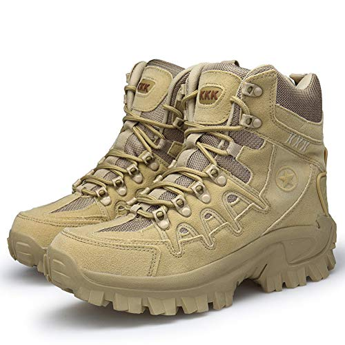 Bititger - Stivali outdoor da uomo, impermeabili, in pelle, con cerniera, stivali militari, Beige (1201 sabbia), 41 EU