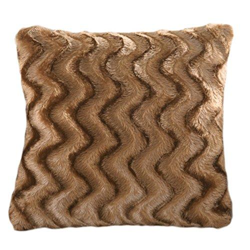 Aikesi Motif à Rayures décoratifs Pure Couleur en Peluche Taie d'oreiller 45 * 45cm Café