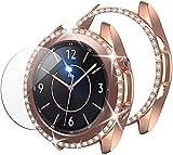 wlooo Glitter Diamante Cover + Vetro Temperato Compatibile con Samsung Galaxy Watch 3 41mm, 1 Pezzi Pellicola Protettiva e 1 Pezzi Bling Cristallo PC Antiurto Custodia per Galaxy Watch 3 41m Oro rosa