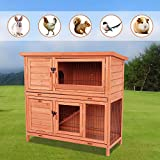 POTBY Wooden Rabbit Hutch Pet Cage Shelter House with Waterproof Roof and Ladder for Bunny, Rabbit, Chicken and Other Small Animals Indoor Outdoor