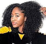 Extension a Clip Cheveux Kinky Afro Natural Humain 8pcs 18clips, Clips Extension Cheveux Naturels Afro Boucle 4c 4b pour Les Femmes Noires 120g #1B Nero Natural 10 Pouces
