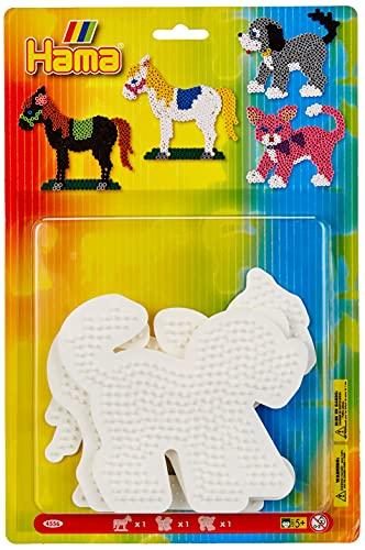 Hama Perlen 4556 Große Stiftplatten 3er Set für Midi Bügelperlen mit Durchmesser 5 mm, Motive Pferd, Hund und Katze in weiß, kreativer Bastelspaß für Groß und Klein