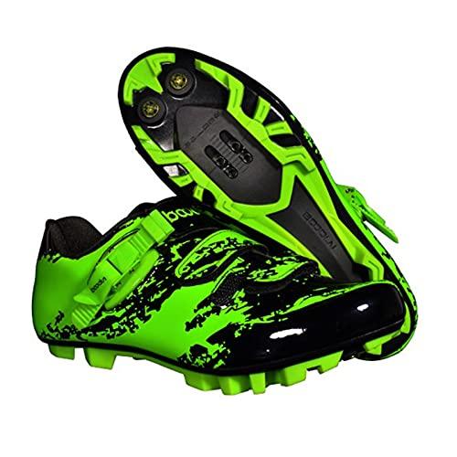 BSTL Zapatillas de Ciclismo MTB para Hombre con Zapatillas de Ciclismo con Bloqueo Automático Bicicleta de Montaña, Calzado de Ciclismo Al Aire Libre Cómodo y Transpirable con Tacos SPD,Green-39