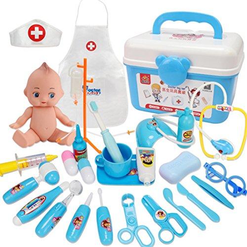 Likeluk 34er Arztköfferchen Set Doktorkoffer Medical Kit Spielset Pretend Play Kinder Rollenspiele für Kinder 3 Jahre und älter