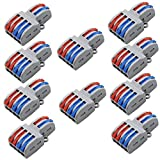 tatoko 10PCS Mini Fast Wire Connector Universal Wiring Cable Connector Push-in Conductor Terminal Block ,Quick Splice Terminal Blocks Wire Connecting (2 in 4 out)