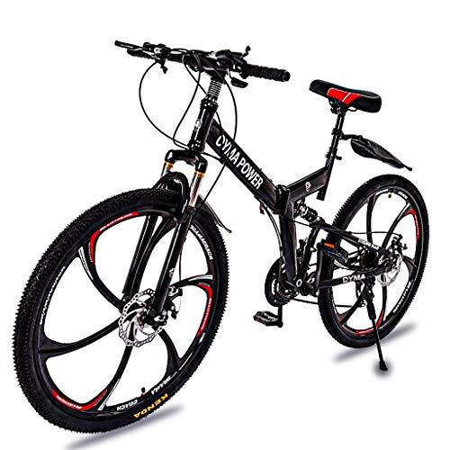 OYMA Power 26in Folding Mountain Bike Shimanos 21 Speed Bicycle Full Suspension MTB Bikes