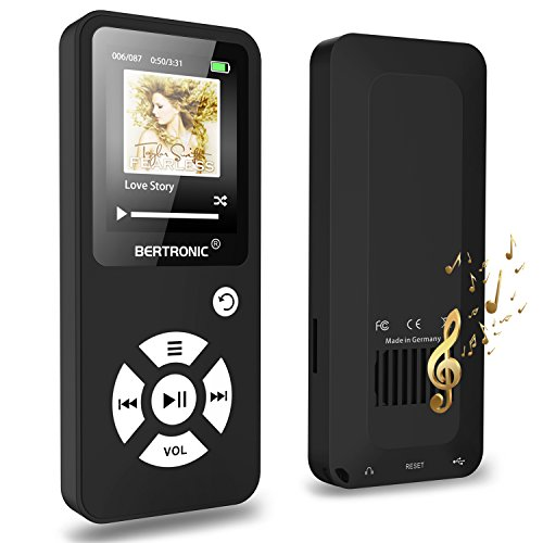 MP3-Player 16 GB Royal BC01-100 Stunden Wiedergabe, Lautsprecher, Kopfhörer, Schrittzähler, Hörbücher, FM Radio, Wecker, mit microSD Kartenslot für bis 128 GB microSD Karten - Schwarz von BERTRONIC