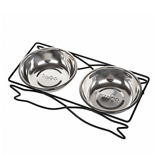 CS huisdier voedsel kom ijzer roestvrij staal dubbele keramische kom schijf huisdier kat, S, Stainless steel bowl