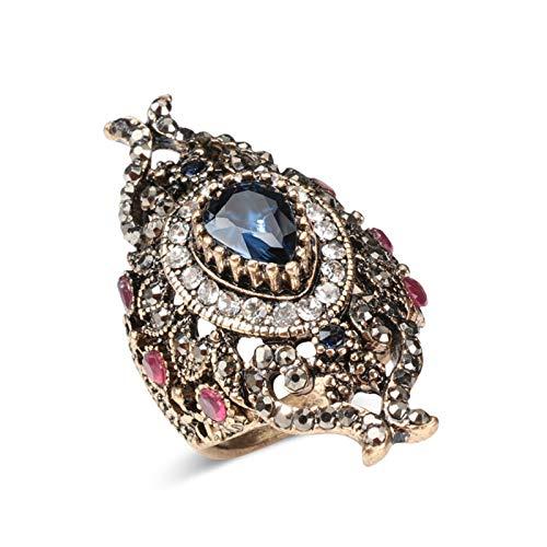 EzzySo Anillo Hueco de Piedras Preciosas de Cristal, Estadounidense Retro Exquisito Anillo de aleación de Lujo joyería (2 Piezas),Rojo,9