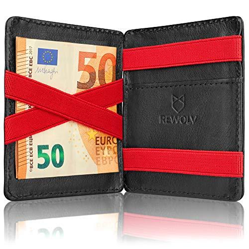 REWOLV® Magic Wallet mit Münzfach - Echtleder Mini Geldbeutel mit RFID Schutz für Damen und Herren + GRATIS Geschenkverpackung (red)