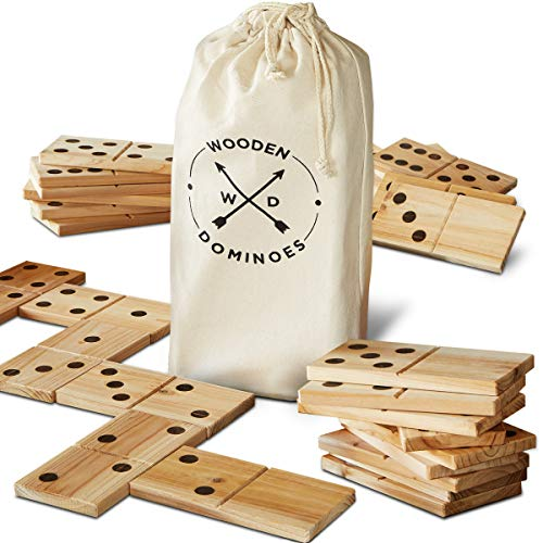 Refinery And Co. 28 Piece Jumbo Wood Dominoes Game Toy Set, Oversized...