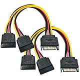 Yeung Qee (2 unidades) SATA Power Y Splitter Cable de 15 pines macho a doble hembra SATA Power Splitter Cable 8 pulgadas